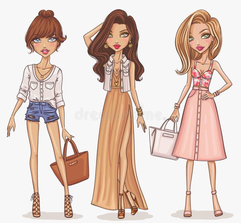 美好和时髦的时尚女孩集合 库存例证