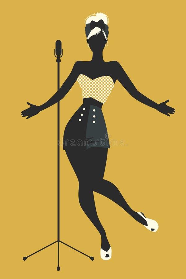 美好和被刺字的画报女孩唱歌 也corel凹道例证向量 向量例证