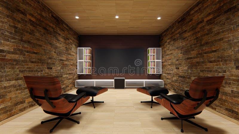 美好家庭影院电视放映机设计软的沙发uhd 4k娱乐家的设计完善 免版税库存图片