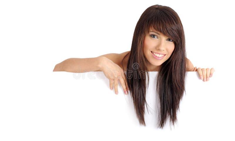 美好广告牌空白女孩藏品微笑 库存照片