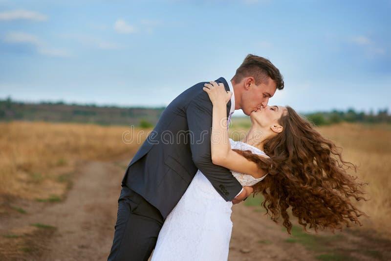 美好新娘和新郎亲吻 库存图片