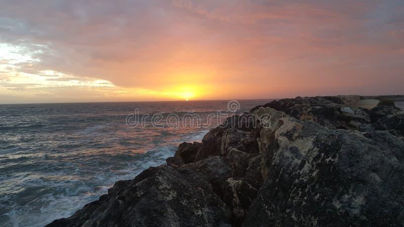 美好海洋的日落 免版税图库摄影