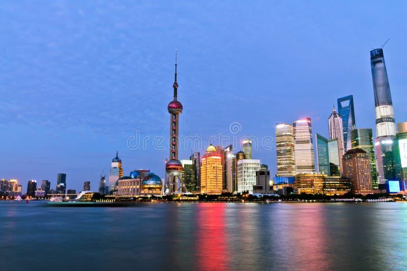 美好的上海市夜 免版税库存图片