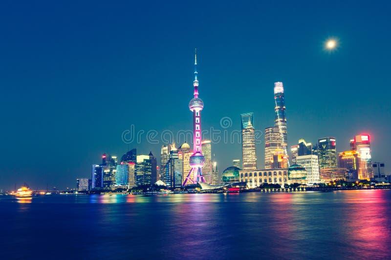 美好的上海市夜 免版税库存照片