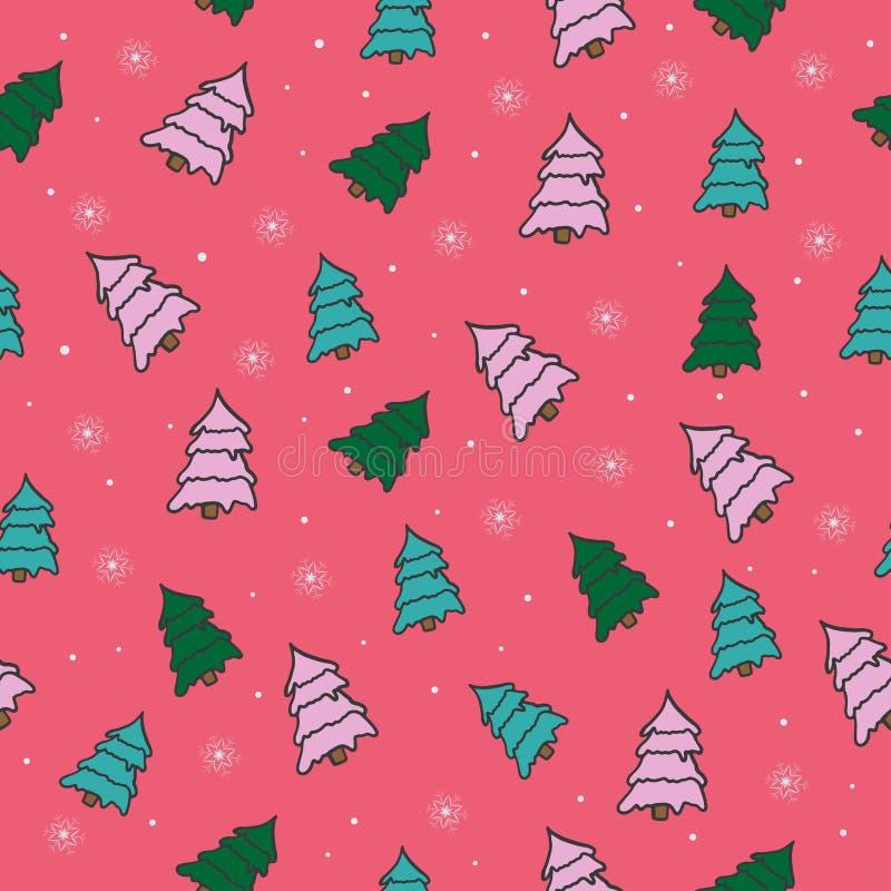 美好的与圣诞树的传染媒介无缝的样式 向量例证