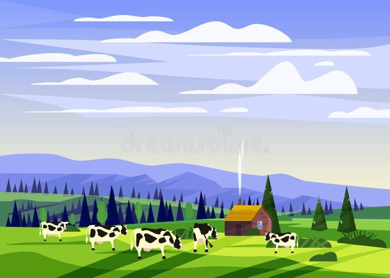 美好的乡下夏天风景,母牛谷农村农厂房子,青山,山,明亮的颜色蓝色牧群  皇族释放例证