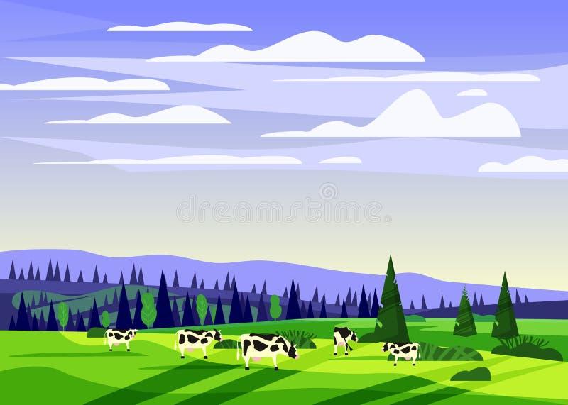 美好的乡下夏天风景,母牛谷农村农厂房子,青山,明亮的颜色天空蔚蓝牧群  皇族释放例证