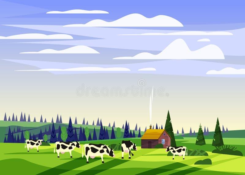 美好的乡下夏天风景,母牛谷农村农厂房子,青山,明亮的颜色天空蔚蓝牧群  向量例证