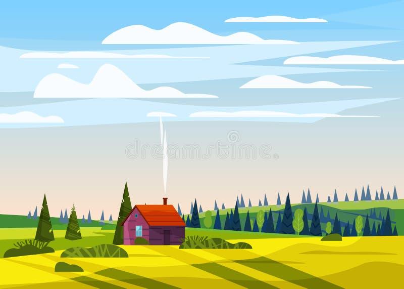 美好的乡下夏天风景,谷农村农厂房子,青山,明亮的颜色天空蔚蓝,草甸与 库存例证