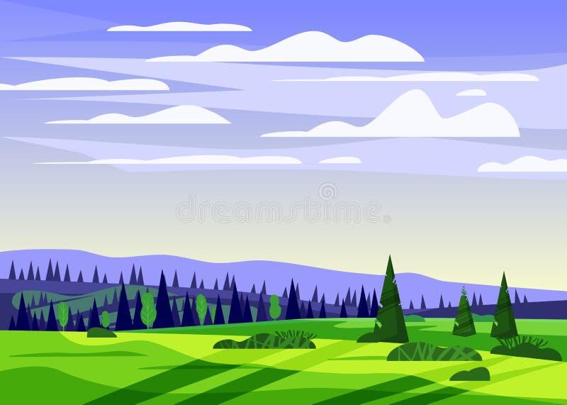 美好的乡下夏天风景,谷农村农厂房子,青山,明亮的颜色天空蔚蓝,草甸与 皇族释放例证