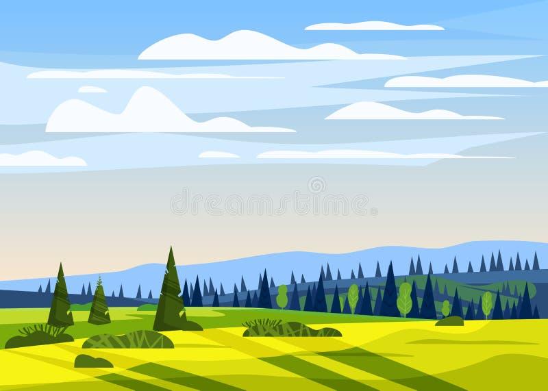 美好的乡下夏天风景,谷农村农厂房子,青山,明亮的颜色天空蔚蓝,草甸与 向量例证
