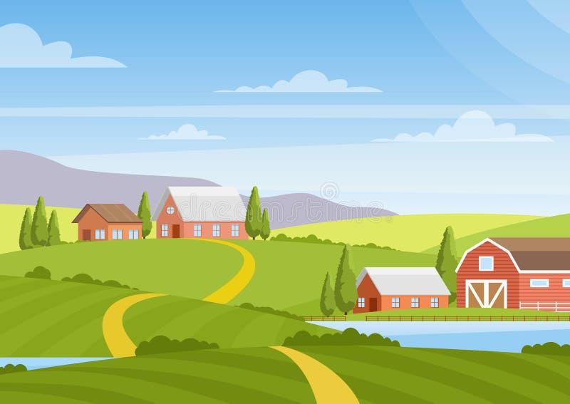 美好的乡下风景,黎明,青山,农场,房子,树,明亮的颜色的传染媒介例证与领域的 向量例证