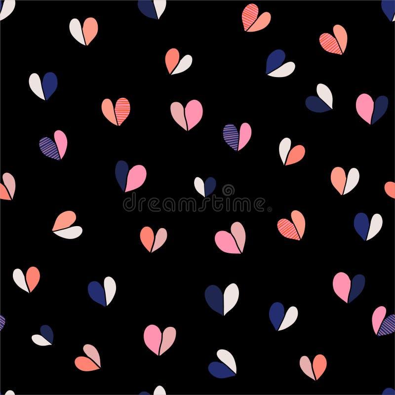 美好的五颜六色和逗人喜爱的传染媒介例证手拉的心脏导航无缝的样式例证 时尚的,织品设计 向量例证