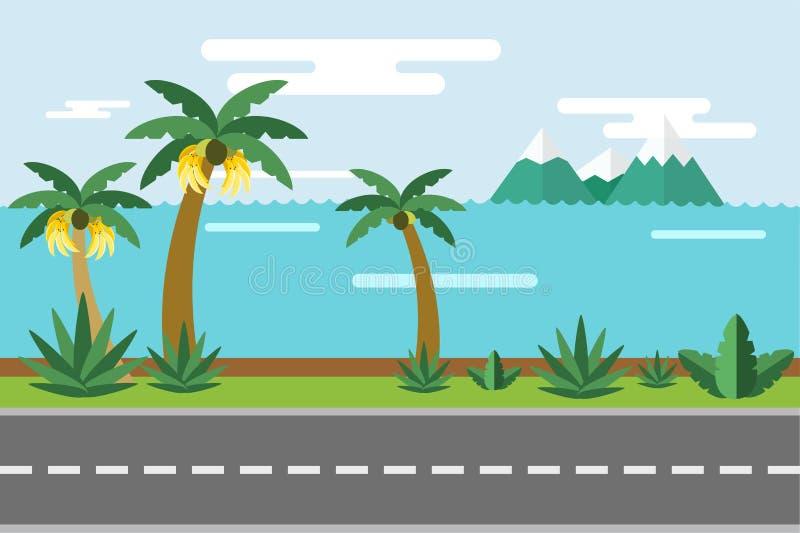 美好的五颜六色的夏天海景例证 向量例证