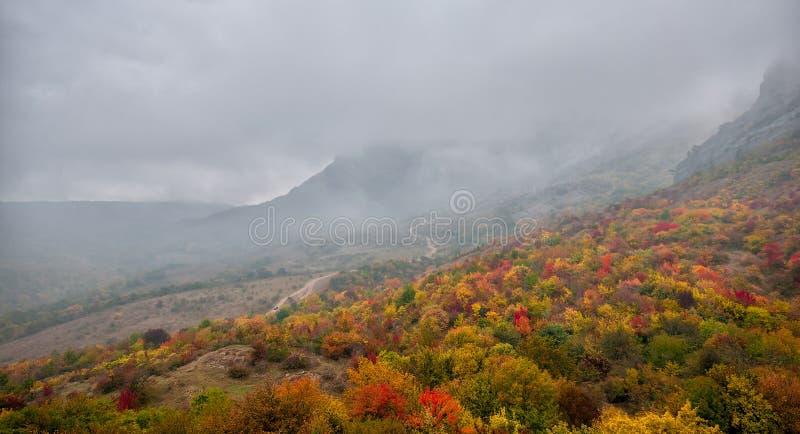 美好的五颜六色的秋天风景全景在山的 库存照片