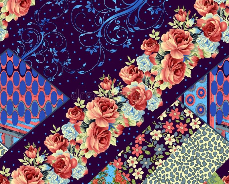 美好的五颜六色的背景和花设计 向量例证