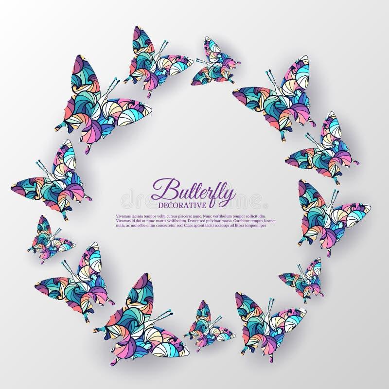 美好的五颜六色的蝴蝶背景概念 皇族释放例证
