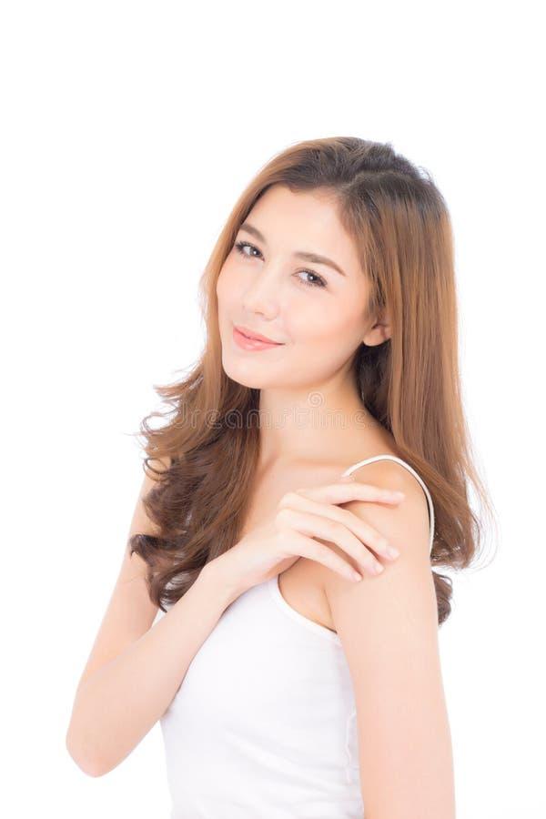 美好的亚洲妇女构成化妆用品,在白色背景有面孔微笑有吸引力的隔绝的女孩秀丽画象  免版税库存图片