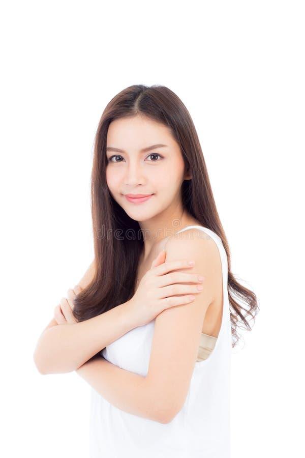 美好的亚洲妇女构成化妆用品,在白色背景有面孔微笑有吸引力的隔绝的女孩秀丽画象  图库摄影