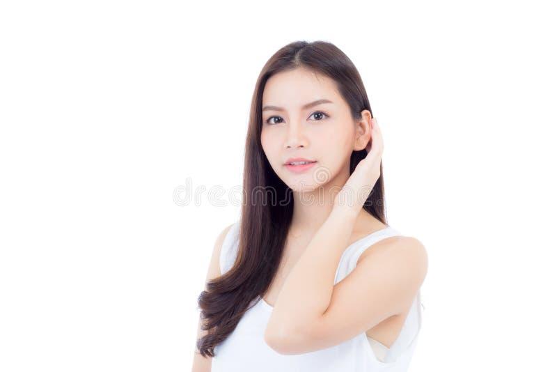 美好的亚洲妇女构成化妆用品,女孩秀丽画象有有吸引力面孔的微笑的 免版税库存图片