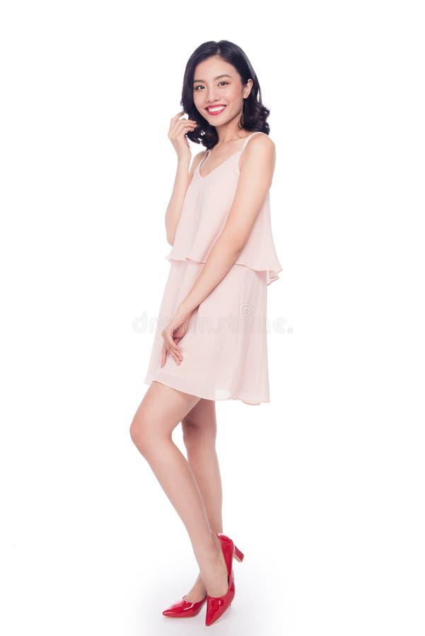 美好的亚洲妇女模型魅力画象与好的构成的 免版税库存图片