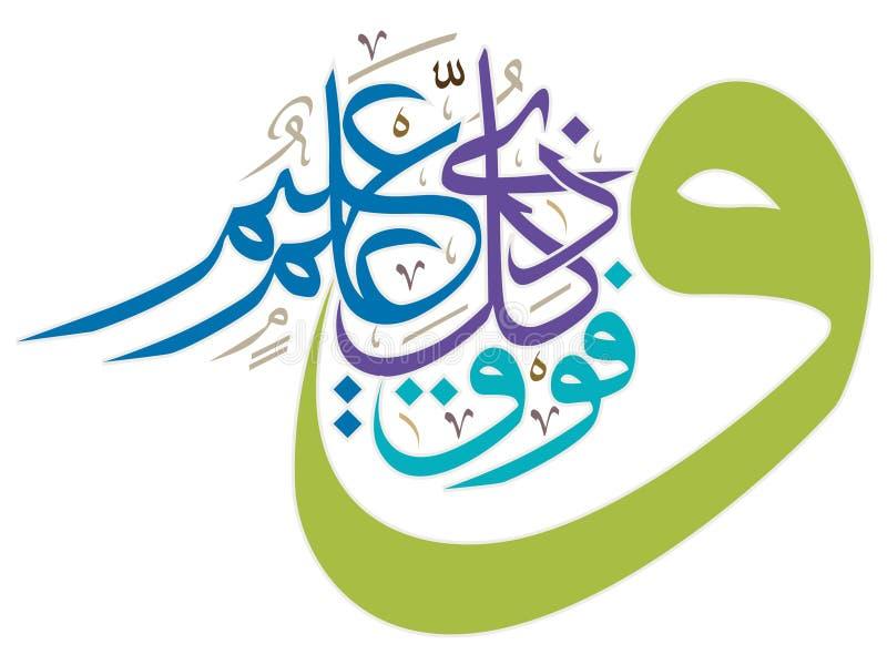 美好的伊斯兰教的书法诗歌,传染媒介 向量例证