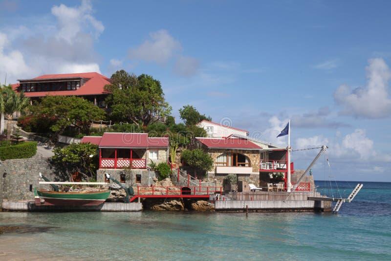 美好的伊甸园岩石hote在圣Barts,法属西印度群岛 免版税图库摄影