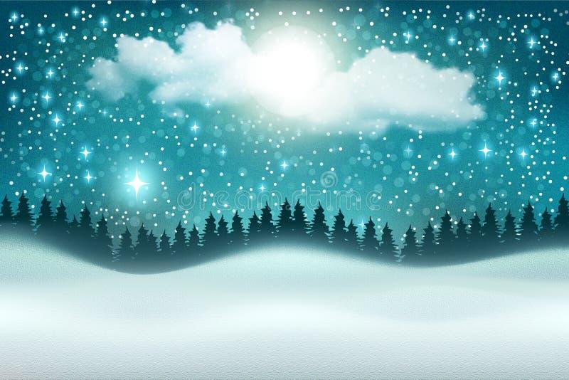 美好的传染媒介冬天夜风景背景 向量例证