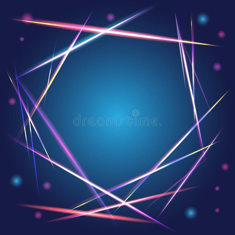 美好的传染媒介光线影响 与闪光的色的光 导航与氖的作用的背景并且发光 向量例证