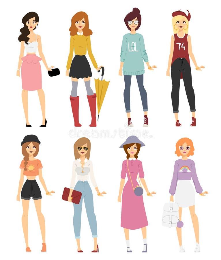 美好的传染媒介动画片时尚女孩模型神色 向量例证