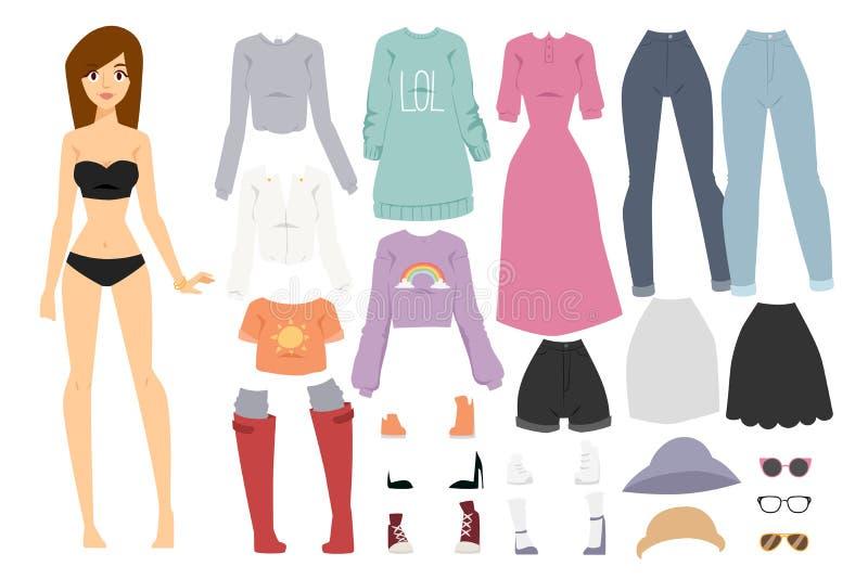 美好的传染媒介动画片时尚女孩模型 皇族释放例证