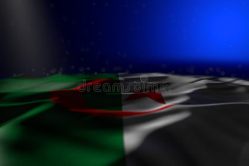 美好的假日旗子3d例证-空阿尔及利亚旗子的黑暗的例证平展说谎在与bokeh的蓝色背景和 皇族释放例证