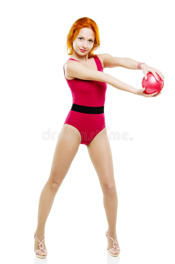 与球的健身模型 库存照片