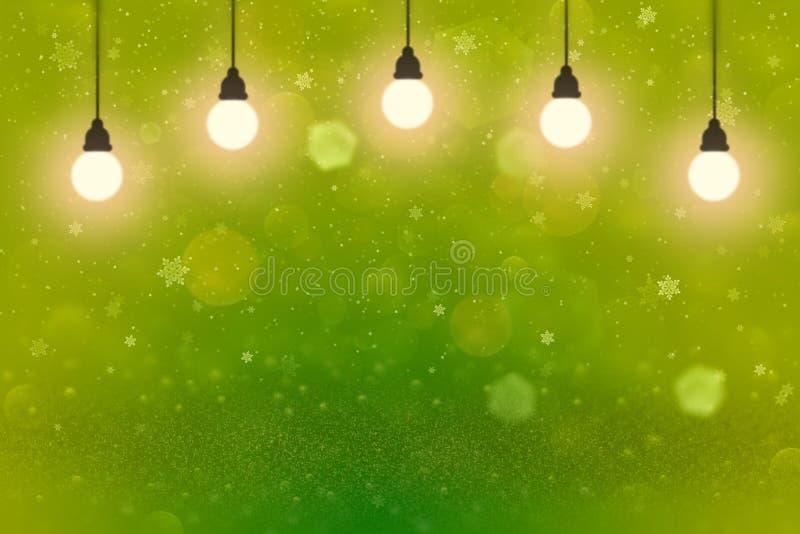美好的光滑的与电灯泡的闪烁光defocused bokeh抽象背景和落的雪剥落飞行,欢乐的大模型 库存照片