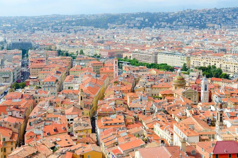 美好的全景从上面在尼斯,法国 库存照片