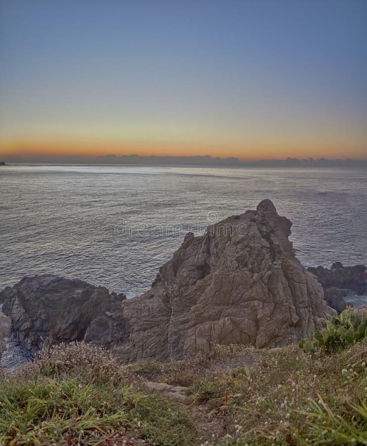 美好的全景,海滩,彗星点瓦哈卡墨西哥 库存照片