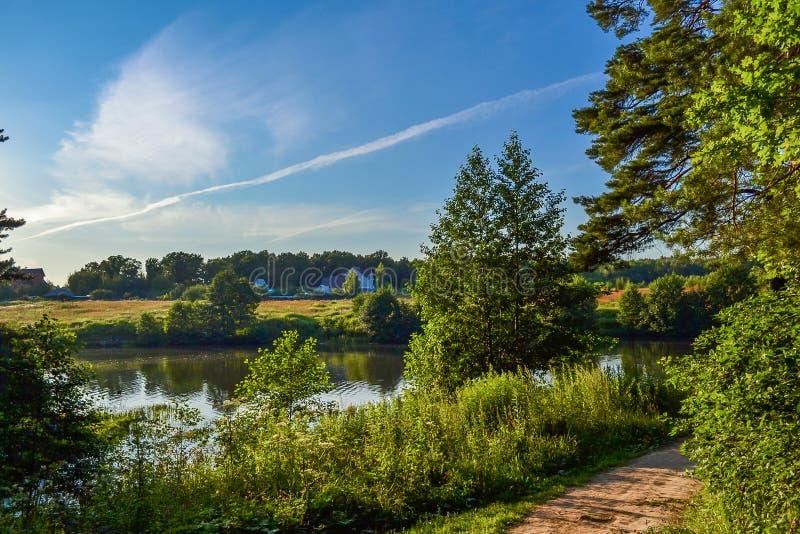 美好的农村横向 在河附近的住宅房子 与明亮的绿叶和蓝天的树与美丽的云彩 夏天 免版税库存图片