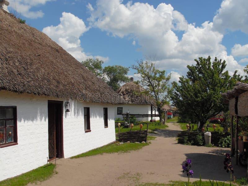 美好的农村风景在乌克兰村庄 免版税库存图片