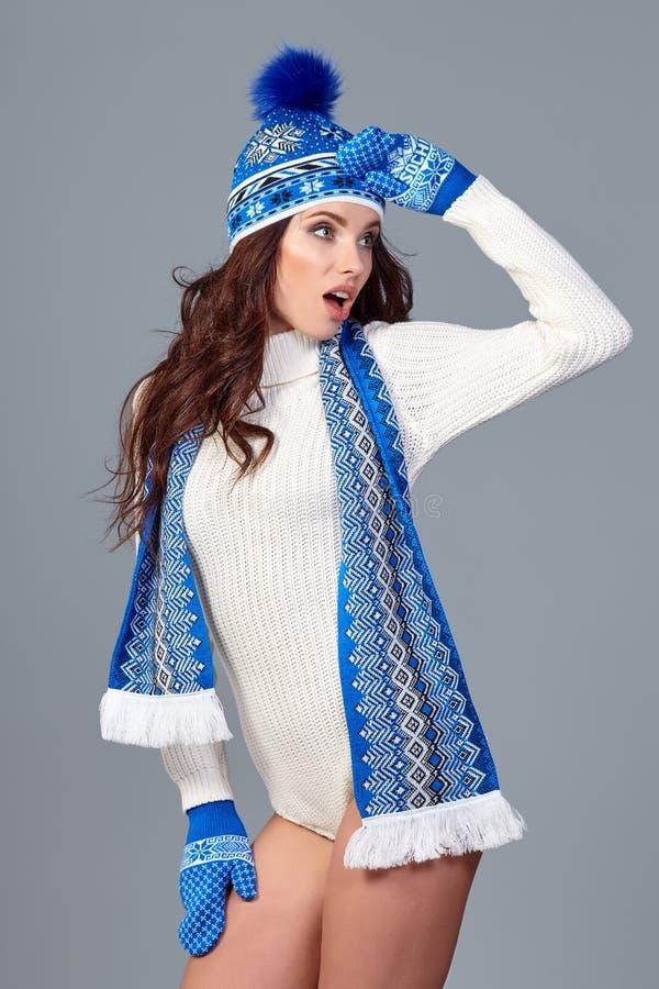 美好的冬天时装模特儿 免版税库存照片