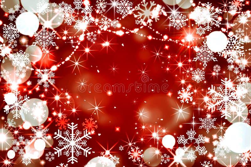 美好的冬天背景,在红色,聪慧的bac的白色雪花 库存例证