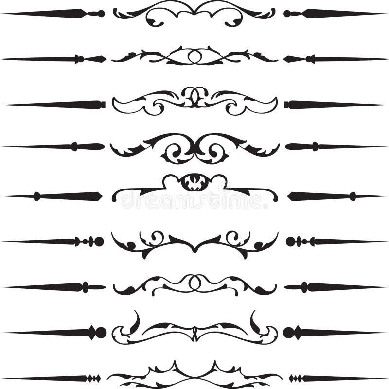 美好的减速火箭的分界设计元素集 皇族释放例证
