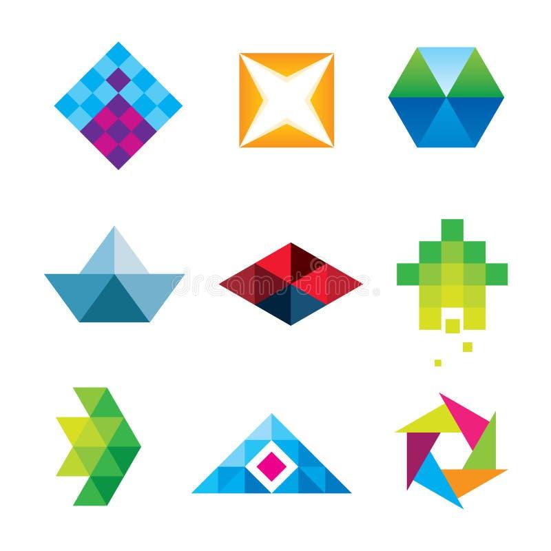美好的几何多角形艺术设计箭头新的维度商标集合象 库存例证