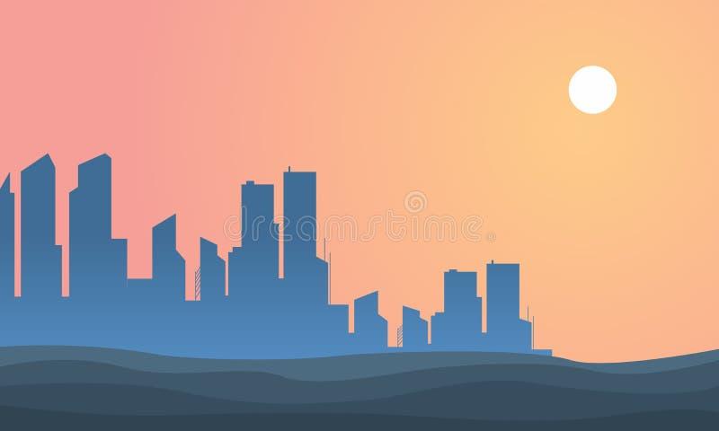 美好的剪影风景都市城市 皇族释放例证