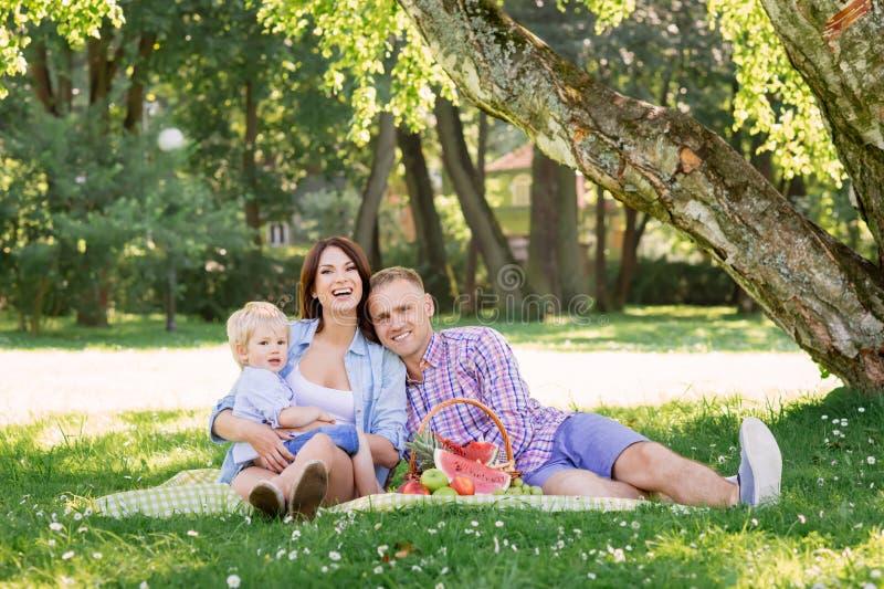 美好的加上小孩儿子有野餐在公园 免版税库存图片