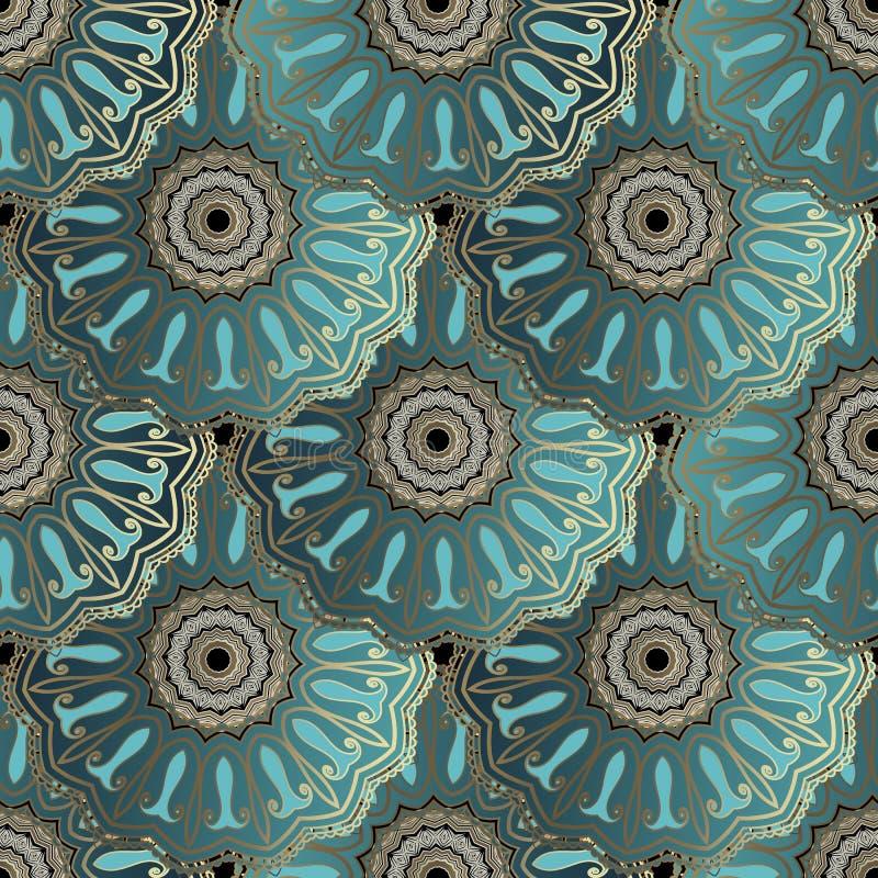 美好的华丽佩兹利传染媒介无缝的样式 高雅花卉阿拉伯样式铺磁砖了圆的鞋带坛场 装饰豪华重复 向量例证