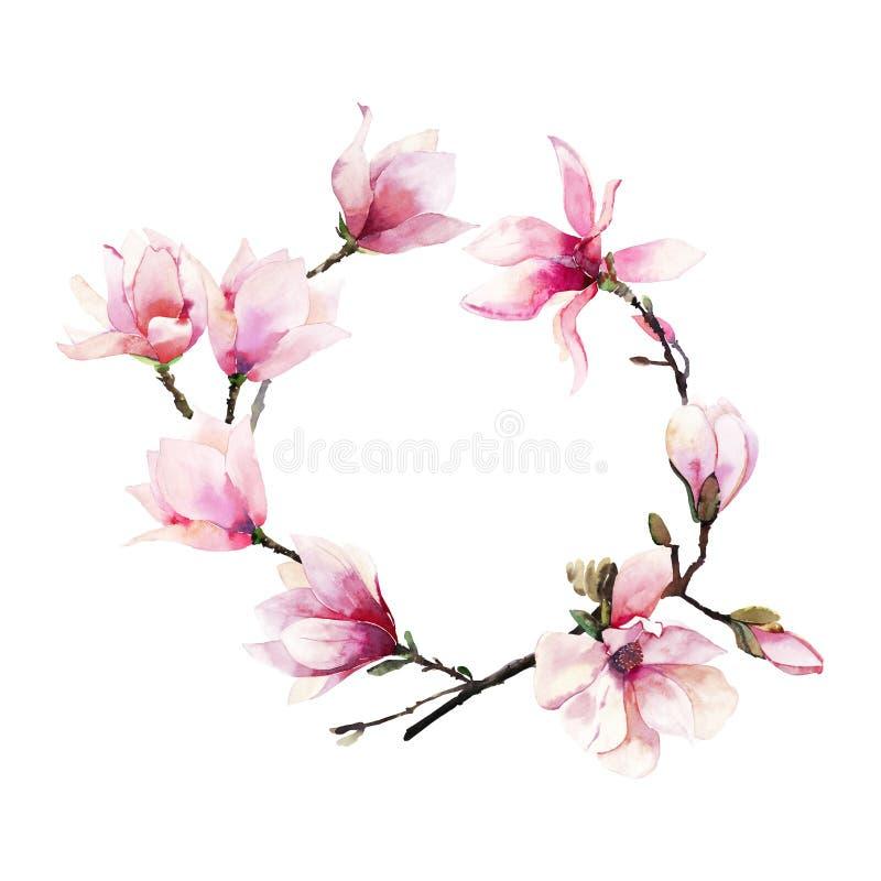 美好的可爱的一个桃红色日本木兰花水彩手例证的招标草本美妙的花卉夏天花圈 免版税库存照片