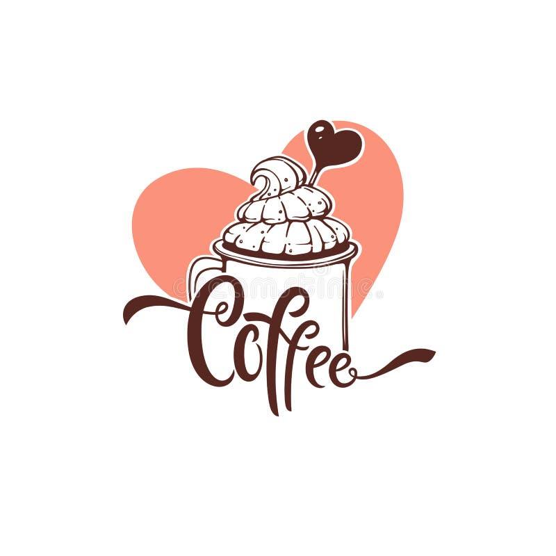 美好的咖啡商标模板设计,导航手拉的illustratio 向量例证