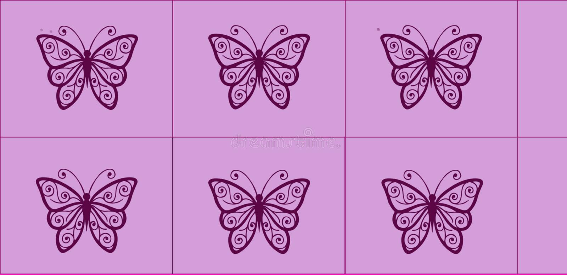 美好的图表瓦片设计有桃红色背景和黑蝴蝶孩子或学校墙壁瓦片工作的 库存例证
