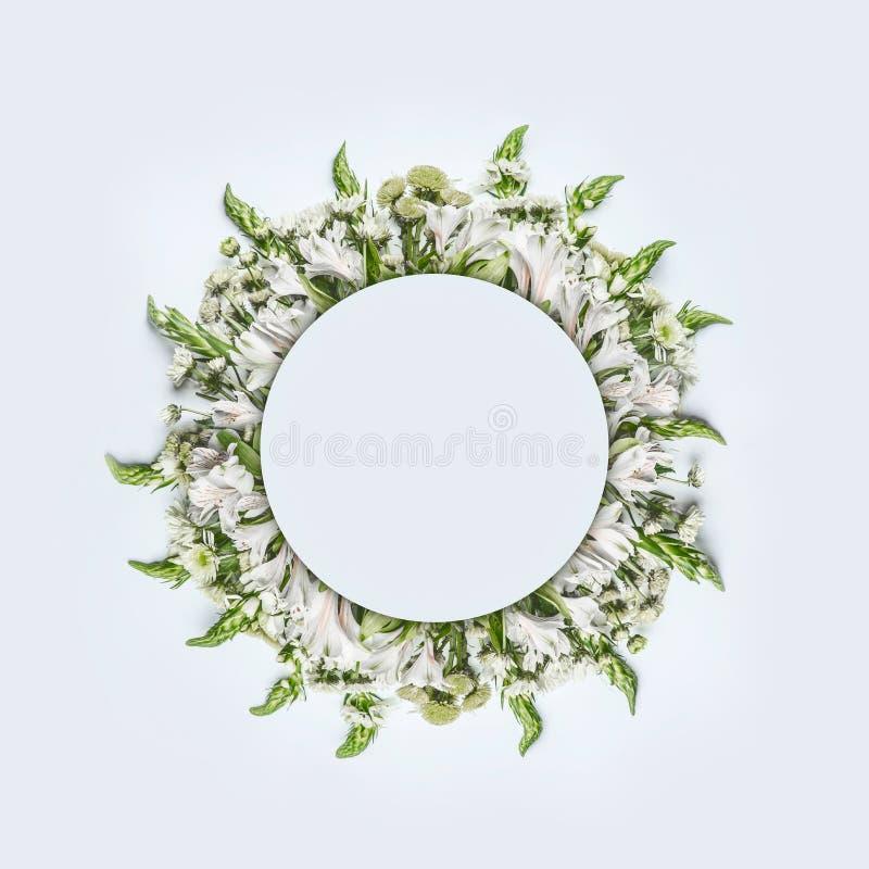 美好的圆的圈子花卉框架或花圈布局与绿色花在白色背景 免版税库存照片