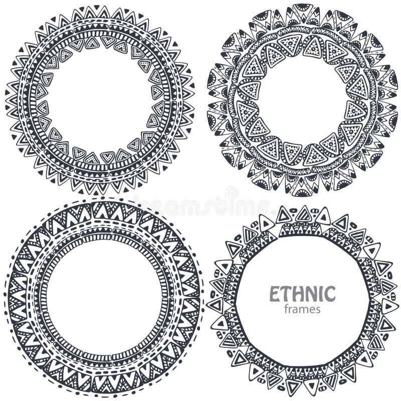 美好的圆的框架设置了与手拉的种族元素 皇族释放例证